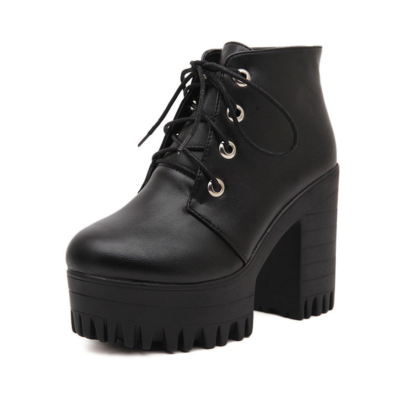 Gdgydh Brand Designers 2018 New Spring Autumn Women Shoes Black High Heels Boots Lacing Platform Ankle Chunky Size 35-39