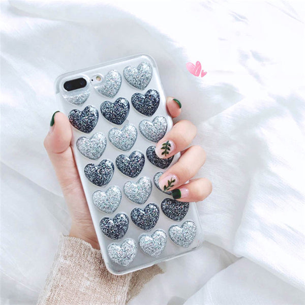 Heart Case For Iphone Blue & Silver / I6 I6S Phone