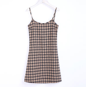Vintage Plaid Cami Mini Dress S