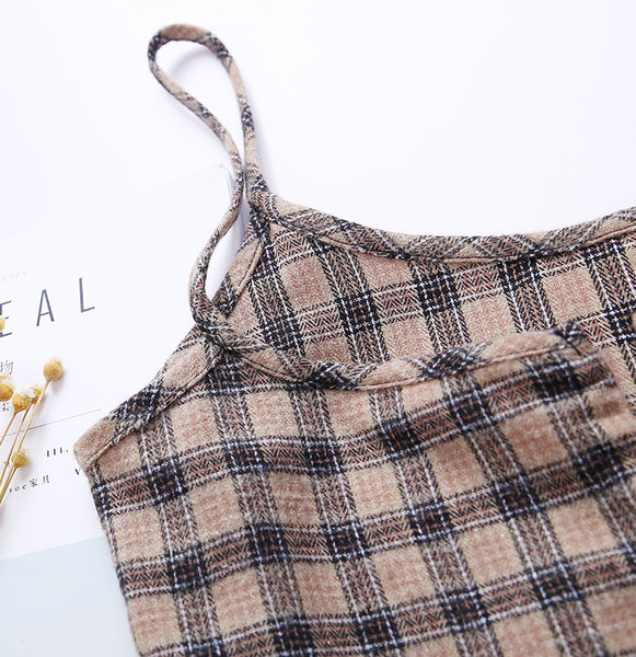 Vintage Plaid Cami Mini Dress