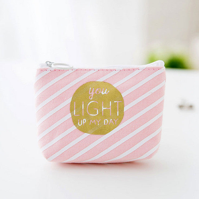 Pink And White Coin Purse You Light Up My World