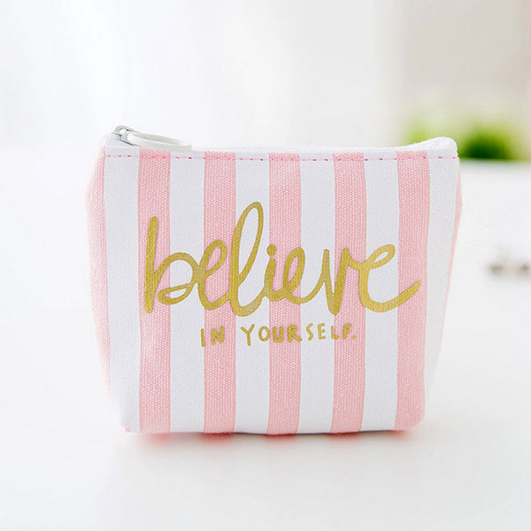 Pink And White Coin Purse Believe