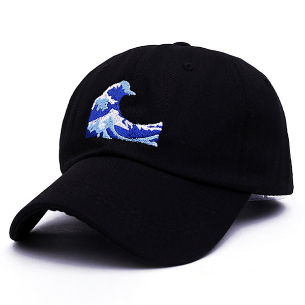 Embroidered Wave Dad Cap Black