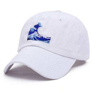 Embroidered Wave Dad Cap White
