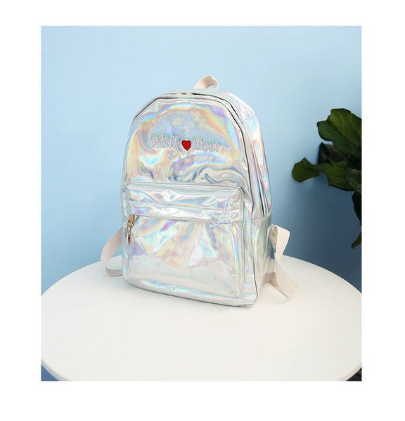 Holo Milk Bear Backpack Silver