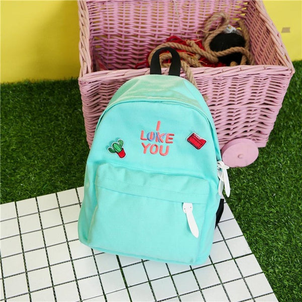 I Like Love You Canvas Backpack Turquoise