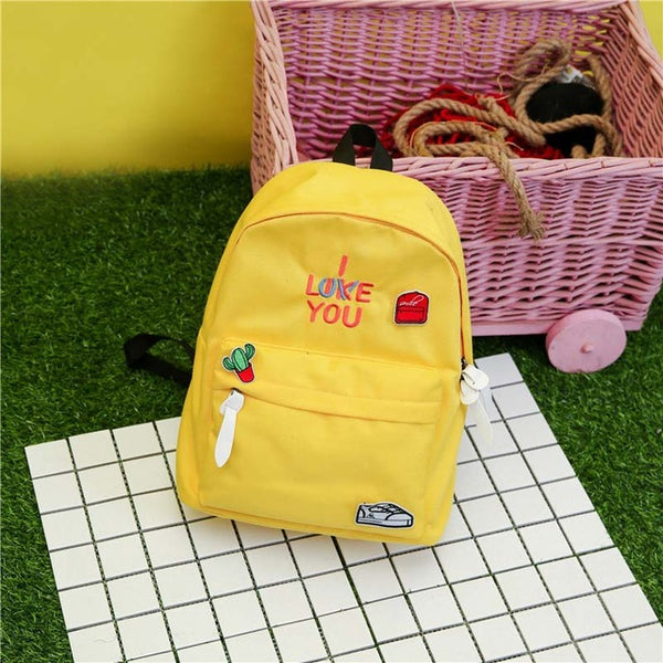 I Like Love You Canvas Backpack Yellow