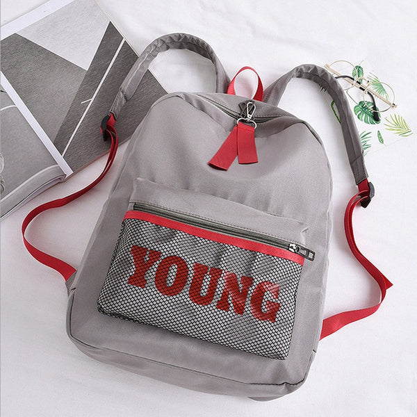 Young Nylon Backpack Light Gray