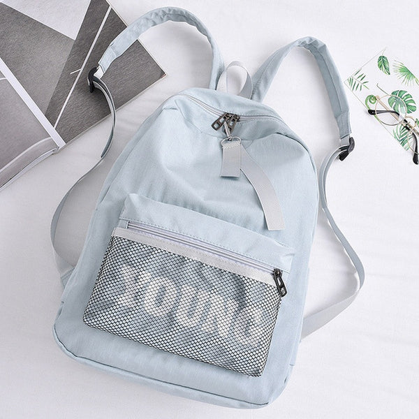 Young Nylon Backpack Light Blue