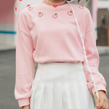 Embroidered Peachy Sweatshirt Pink / S