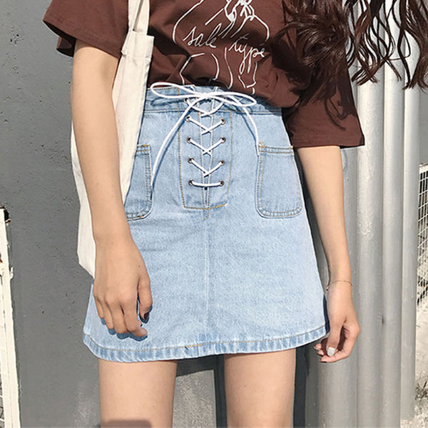Lace-Up Denim Mini Skirt Light Blue / L