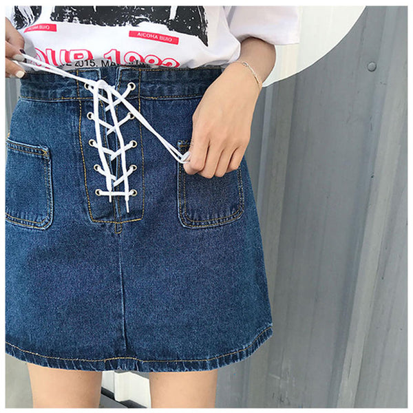 Lace-Up Denim Mini Skirt Dark Blue / L