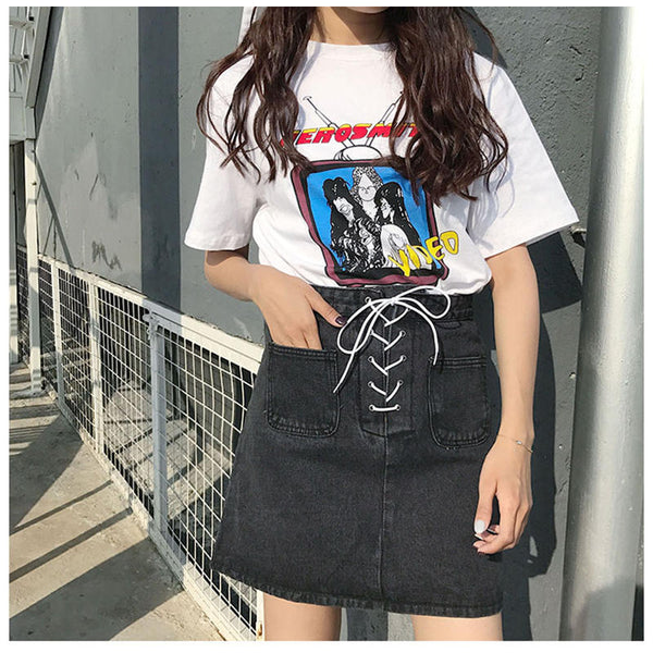 Lace-Up Denim Mini Skirt Black / L