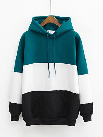 Color Block Pullover Hoodie Green / One Size