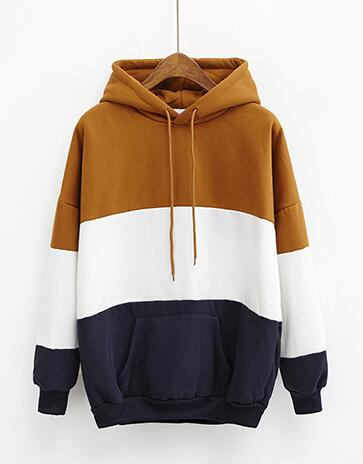 Color Block Pullover Hoodie Khaki / One Size