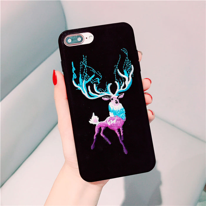 Embroidered Deer Case For Iphone Black / I7Plus Phone