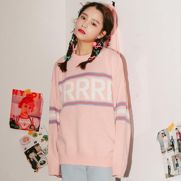 2017 Autunm New Fashion Letter Simple Vintage Loose Casual College Wind Long Sleeve Female Sweaters Pink / One Size
