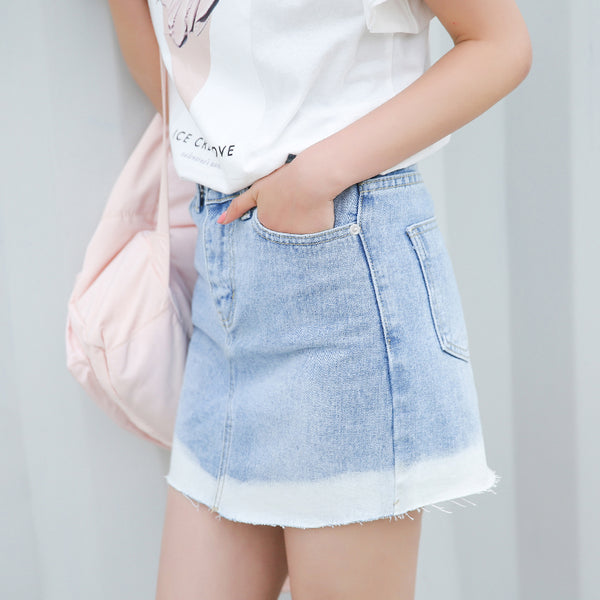 Frayed Ombre Denim Skirt