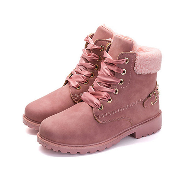 Fuzzy Combat Boots Pink / 6
