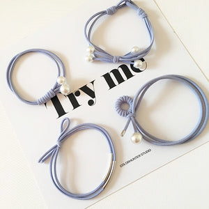 Blue Pearl Hair Tie Set Accessory
