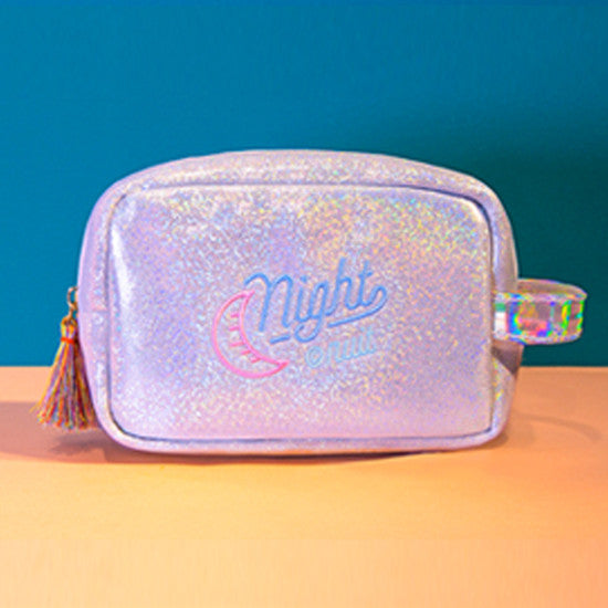 Iridescent Shimmer Pouch Silver Make Up Bag