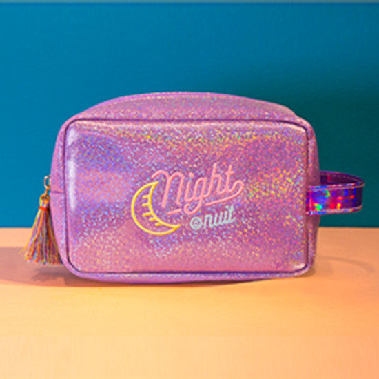 Iridescent Shimmer Pouch Purple Make Up Bag
