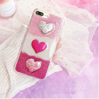 Triple Heart Case For Iphone Pink / I7Plus Phone
