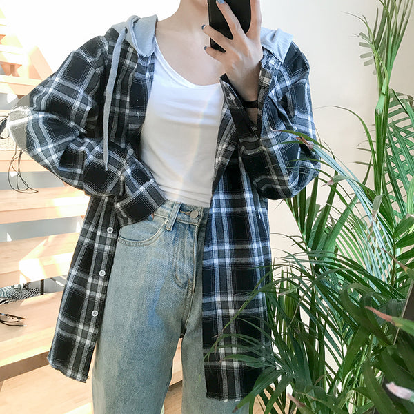 3Colors 2017 Autumn New Arrival Bf Style Faux Two Pieces Hoodies Plaid Shirts Womens Blouses (B0608)
