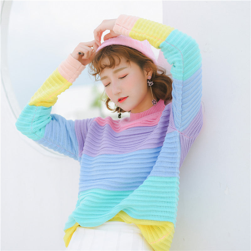 Rainbow Turtleneck Sweater Sweatshirt
