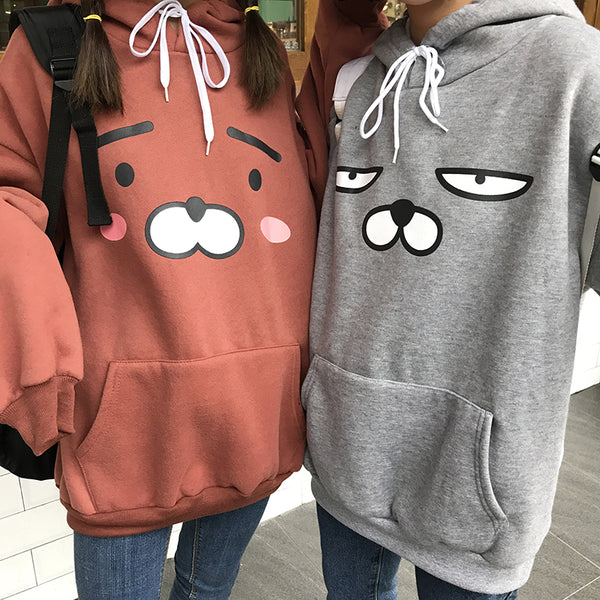 Women Autumn And Winter Loose Cute Cartoon Printing Velvet Thick Long Sleeve Pullover Hooded Sweatshirt For Girls