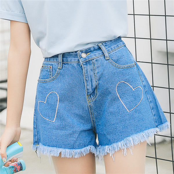 Embroidered Heart Shorts