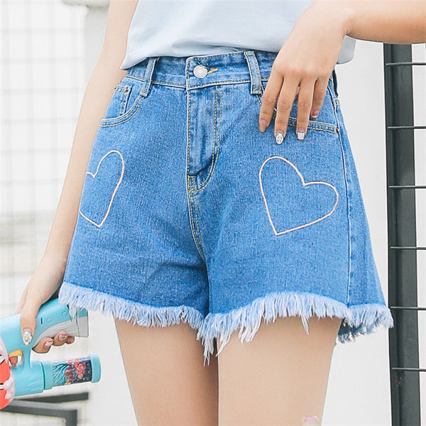 Embroidered Heart Shorts Blue / Xl
