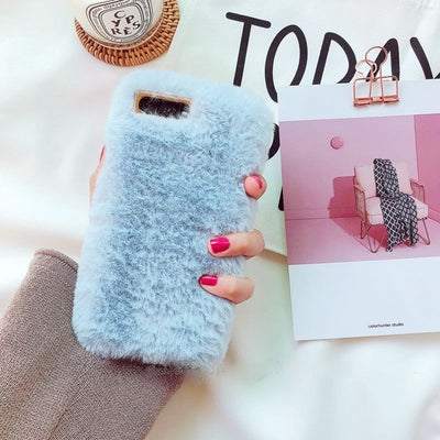 Fluffy Case For Iphone Sky Blue / I6 I6S Phone