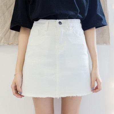 White Denim Skirt / S