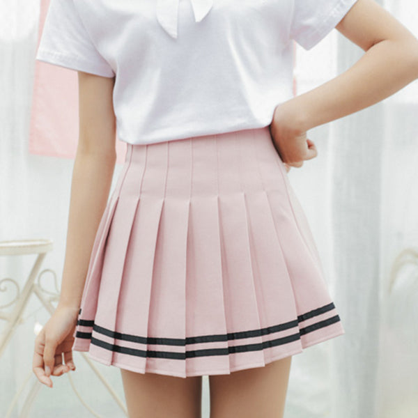 Striped Pleated Skirt Pink / L