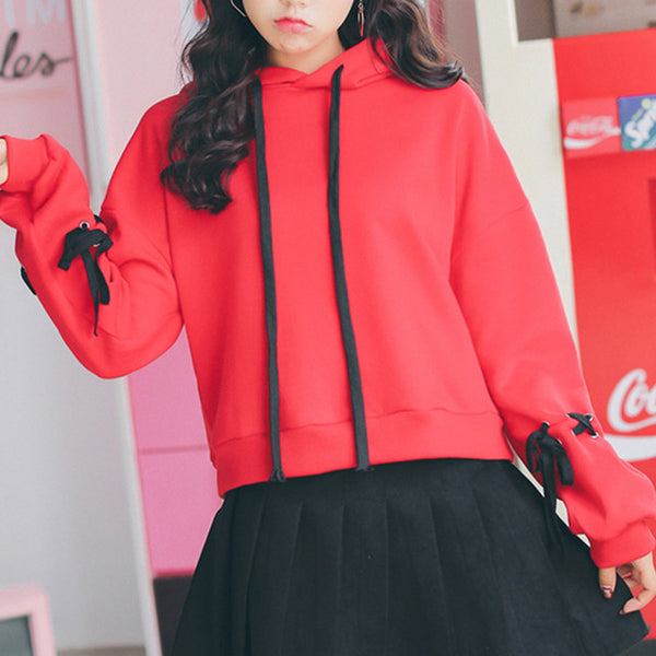 Winter Fleece Harajuku Girls Solid Color Sweet Casual Hoodie Red / L