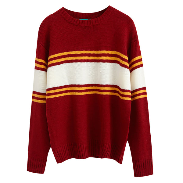 Ulzzang Autumn New Retro College Wind Round Neck Loose Stripe Lovers Big Yards