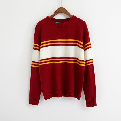 Ulzzang Autumn New Retro College Wind Round Neck Loose Stripe Lovers Big Yards Red / One Size