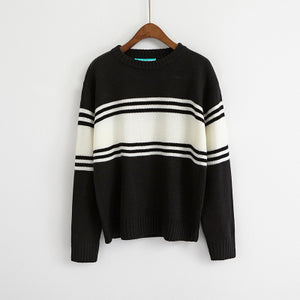 Ulzzang Autumn New Retro College Wind Round Neck Loose Stripe Lovers Big Yards Black / One Size