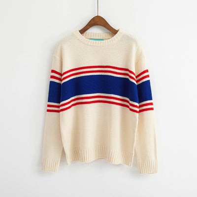 Ulzzang Autumn New Retro College Wind Round Neck Loose Stripe Lovers Big Yards White / One Size