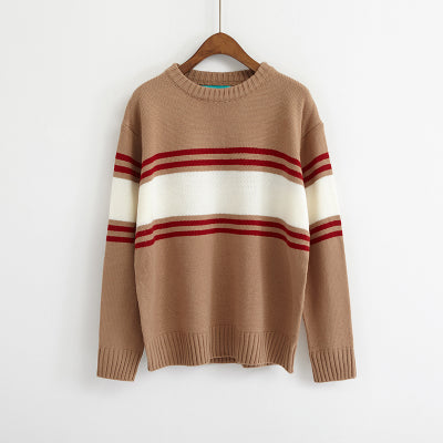Ulzzang Autumn New Retro College Wind Round Neck Loose Stripe Lovers Big Yards Khaki / One Size