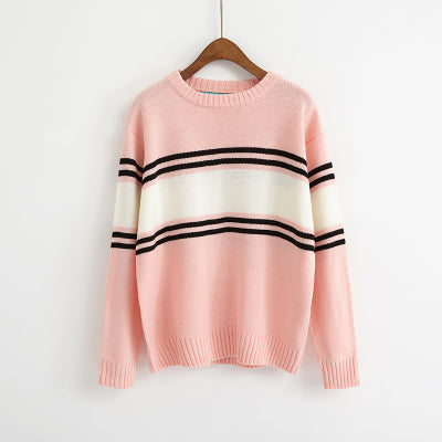 Ulzzang Autumn New Retro College Wind Round Neck Loose Stripe Lovers Big Yards Pink / One Size