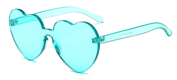 Peekaboo Love Heart Sunglasses 2018 Candy Color Green Red Transparent Frame Shape Sun Glasses Rimless Party Women Gift Clear / As Show In