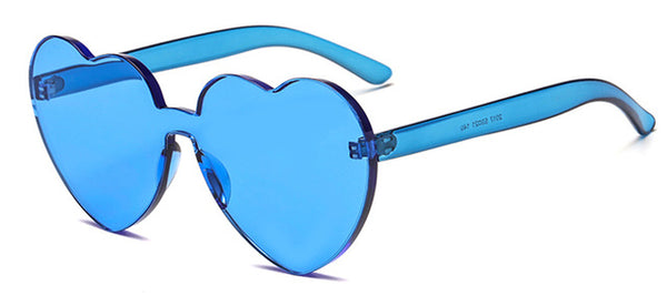 Peekaboo Love Heart Sunglasses 2018 Candy Color Green Red Transparent Frame Shape Sun Glasses Rimless Party Women Gift Clear Blue / As Show