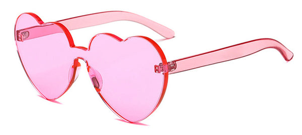 Peekaboo Love Heart Sunglasses 2018 Candy Color Green Red Transparent Frame Shape Sun Glasses Rimless Party Women Gift Clear Pink / As Show