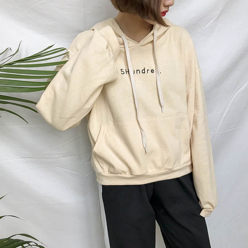 2018 Spring Women Hoodies Sweatshirts Loose Embroidered Letters Hooded Fasion Tie Long Sleeve Harajuku One Size