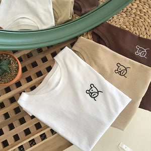 3 colors 2018 summer preppy style cute bear cartoon embroidery loose best friends tshirts womens tops cropped (B1211) - The Toasted Coconut