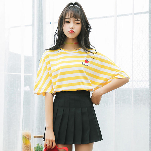 New Summer Small Fresh Short Sleeve T-Shirt Women Institute Wind Cute Fruit Embroidery Stripe Loose T Shirt Female Casual Tops Yellow / S