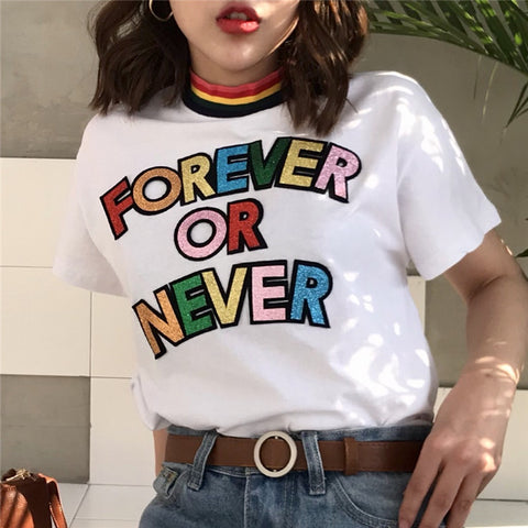 """Forever or Never"" High-Neck Graphic Tee - The Toasted Coconut"