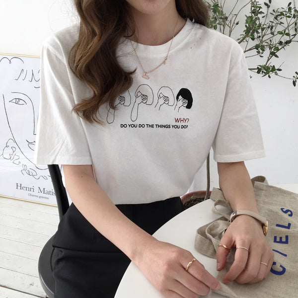2 colors 2018 summer cartoon letter print hole t shirts womens loose cropped tops for womens (B1465) - The Toasted Coconut